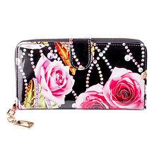 Ladies Black & Pink & Green & Orange Jewels & Pink Rose & Snake Wallet/Purse