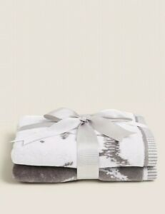 M&S Grey 2 Pack Pure Cotton Battersea Dogs Towel BNWT Bathroom Accessories Soft