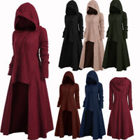 Steampunk Women'S High Low Ribbed Hooded Sweater Coat Hoodies Pullover Knitwear