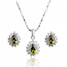 18K WHITE GOLD PLATED GENUINE OLIVE GREEN CUBIC ZIRCONIA NECKLACE& EARRING SET