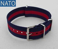 BRACELET MONTRE NATO 20mm (bleu navy rouge) compatible Lip Seiko Yema Rulha Yema