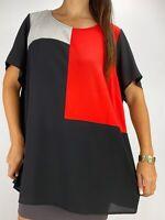 NEW AUTOGRAPH Orange Black Colourblock Short Sleeve Top Plus Size AU 20 RRP $50
