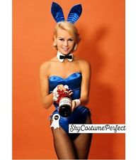 FREE WORLD SHIP Satin Playboy Bunny ANY COLOR COMPLETE Ears ECT Costume Blue !!