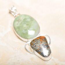"Handmade Apache Gold Natural Gemstone 925 Sterling Silver Pendant 2.75"" #P14405"