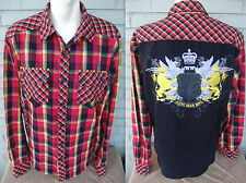 Rodeo Country Western Plaid Line Dancing Flannel Stage Club Royalty Shirt Size L