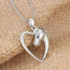 Fashion Silver Long Elegant Hollow Charm Necklace Jewelry Horse Head Pendant