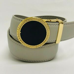 Fashion Men's Automatic Gold Buckle Black Red Slide Leather Dress Jeans New Belt
