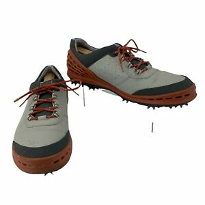 Ecco Hydromax Cage Evo Golf Shoe Men Size 47 Gray Leather Extra Width Soft Spike