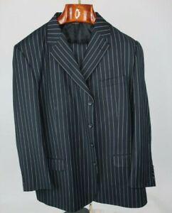 Caravelli Collezione Black 2 Piece Pin Stripe Pimp Suit 50R 100% Wool Super 150s