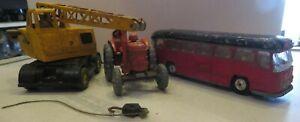 Dinky Supertoys Cole Crane & 301 Tractor + Corgi Major Midland Red Coach