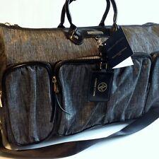 Adrienne Vittadini Large Duffle Bag Black Grey Two Tone Series Weekender