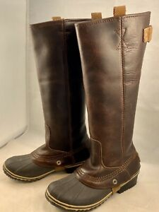 RARE SOREL SLIMPACK TALL Rain Boots Women 6.5 LEATHER Nutmeg Brown EXCELLENT