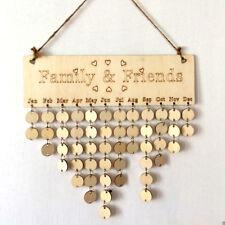 Wood Birthday Reminder Board Birch Ply plaque Sign Family &Friends DIY Calendar
