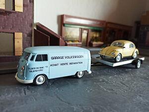 Création unique lot VW Volkswagen Combi T1 + Cox + remorque 1/43 neuf