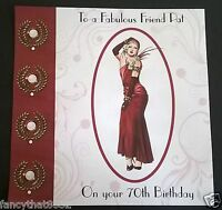 Handmade Personalised Birthday Card Dress Nanna Nan Mam Niece ANY AGE Art Deco