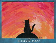 Original ACEO - Cat Overlord - miniature acrylic painting, not framed