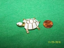 Signed JJ Turtle Brooch Pin goldtone and white enamel