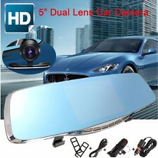 5'' 1080P Full HD Rear view Mirror Dual Lens Car DVR Dash Cam Camera Recorder