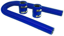 "24"" Blue Stainless Flexible Radiator Hose Kit W/ Billet Clamp Covers Chevy Ford"