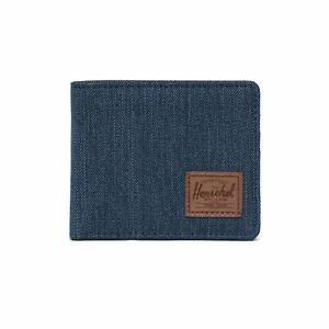 Herschel Roy RFID Wallet Credit Card Case Indigo Denim Crosshatch Saddle Brown