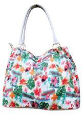 Womens Canvas Beach Bag Ladies Large Flamingo Tote Summer Holiday Handbag
