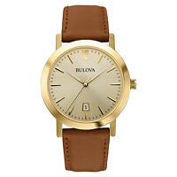 Bulova Men's 97B135 Classic Quartz Champagne Dial Leather Strap 38mm Watch