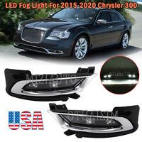For 2015-2020 Chrysler 300 LED Bumper Fog Lights DRL Driving Lamps+Chrome Covers