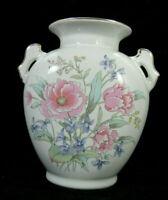 Fine China Floral Vase Pink Blue Gold Trim Made In Japan