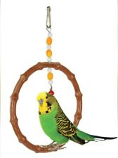 Bird Cage Plastic Bamboo imitation Toys Hang Swing Colorful Beads Bells Perch