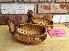 2 Vtg Woven Wicker Duck Basket Monkstraw Brown Royal Cathay Bird Trinket Holder