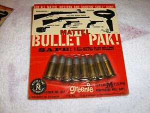 MATTEL BULLET PAK! 8- All Metal Play Bullets on original Card in good condition