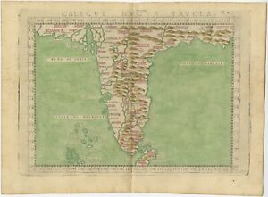 Antique Map of India by Ruscelli (c.1574)