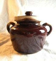 EUC VINTAGE MCCOY #341 OVENPROOF BEAN POT w/ Lid -Ceramic Brown Drip Collectible