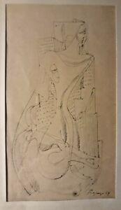 ERVAND KOTCHAR-Original Ink Drawing On Paper-ABSTRACT FEMALE FIGURE-1939