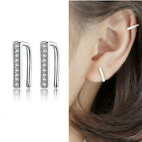 Solid 925 Sterling Silver Paved CZ Line Bar Clip Cuff Climber Crawler Earrings