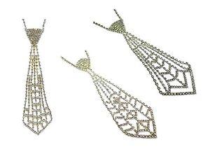 Women Crystal Diamante Tie Shaped Necklace Pendant Choker Fancy Dress Bling Gift