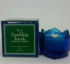 """Vtg Avon Sparkling Jewels Stackable Candle Soft Floral Fragrance Blue 1.25"""" New"""