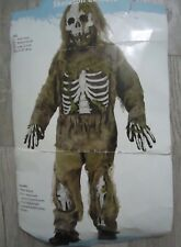 Scary Spooky Boys 12/14 Skeleton Bones Zombie Halloween Costume Mask Gloves