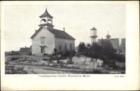 Stonington ME Church & Water Tower c1910 Postcard