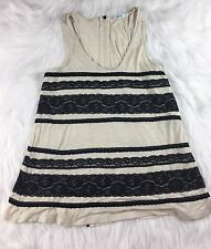 Urban Outfitters Kimchi Ivory Black Lace Striped Tank Long Back Zipper Small