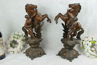PAIR antique French Marly horses spelter bronze statue attr. Coustou