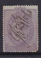 NSW EARLY 1870s 1d Lilac QV STAMP DUTY FINE USED (HH50.2)
