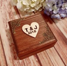 Personalized Wedding Ring Box Rustic bearer box Initials & Date Pillow ring box