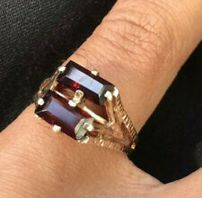 Double Baugette Garnet unique Gold 9ct Ring Fully Hallmarked