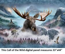 "Call of the Wild Digital Panel cotton quilt fabric Hoffman 33""x44 Moose"