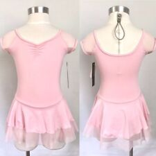 So Danca Girls Mesh Short Sleeve Skirted Leotard Dress, LT PINK, Size 8-10, NWD