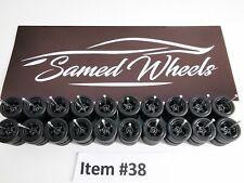 10 set 12-12mm BLACK Samed Wheels 5 bolt 1:64 rubber wheels #38
