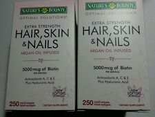 (2) Nature's Bounty Hair Skin & Nails 5000mcg Biotin 500 Softgels-Extra Strength