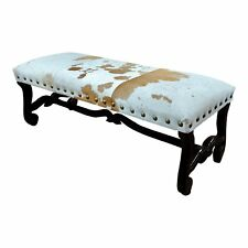 Cowhide Bench Ottoman w/ carved wooden Legs