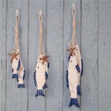 6x Hand Carved Nautical Wooden Marine Fish Rope Sea Scene Wall Hanging Decor